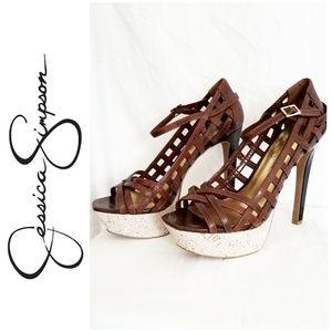 Jessica Simpson Leather Stiletto Platform Shoes